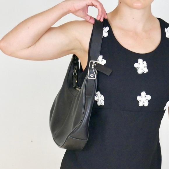 Vintage 90s Black Leather Hobo Shoulder Bag